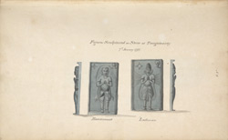 Two sculptures, probably in Andhra Pradesh. 'Figures sculpted on stone at Tangatoorty 7th January 1797. Hanamunt.Lechman.' Copy of WD1062, f.17